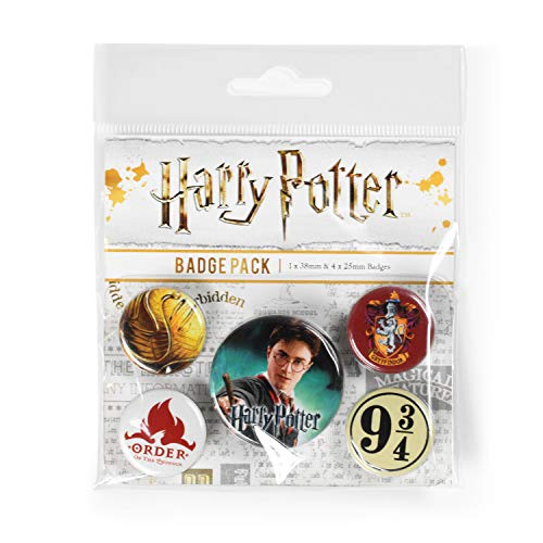 Pyramid International Harry Potter (Gryffindor) Badgepack, Mehrfarbig, 1x38 mm & 4x25 mm