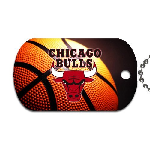 Bulls Basketball Dog Tag with 30' chain necklace Great Gift Idea Chicago