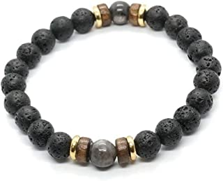 ITANA 3PCS Men 8mm Lava Rock Aromatherapy Essential Oil Diffuser Bracelet Elastic Natural Stone Yoga Beads Bracelet Bangle Black Moonstone Copper Hardwood Spacer