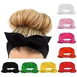 8Pieces/Lot Bandeau Cheveux Nœud d'oreille de Chat Turban Noué Bande Elastique Cheveux Accessoire Cheveux pour Femme (1) …