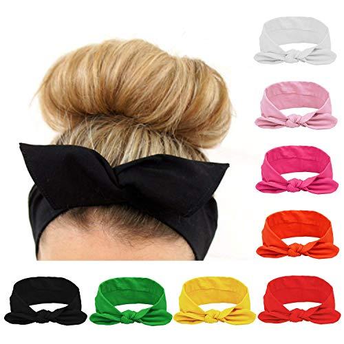 HABI Haar-Zubehör für Damen, 8-teiliges Set aus Haarband, Schleife, Ohrstecker, Katze, Turban, Wickeltop, elastisches Band