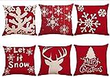 Paquete de 6 fundas de almohada con decoración navideña, fundas de almohada de lino de algodón, cojín de reno con copo de nieve para decoración del hogar, regalos navideños, 18x 18