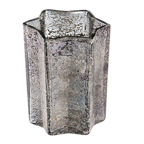 Gehlmann Teelichthalter Windlicht Sternform Bauernsilber grau 8cm