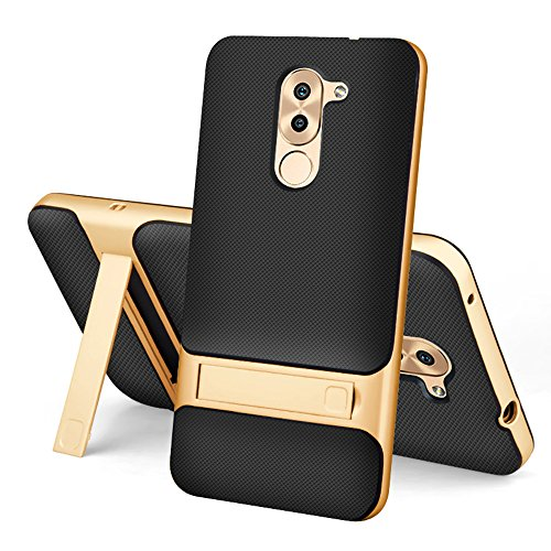 Huawei Honor 6X coque - SMTR (2 in 1) TPU+PC Slim Armor coquille dure support furtif Etui Housse pour Huawei Honor 6X Smartphone - Or