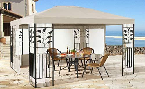 QUICK STAR Garten Blätter Pavillon 3x4m Sand Partyzelt Metall Carport mit 4 Seitenteilen mit Moskitonetz