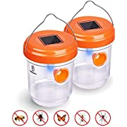 HENSITA Wasp Trap Outdoor - Effective and Reusable Insect Traps Outdoor for Trapping Wasps, Hornets, Flies and Bugs - Solar Powered Wasp Killer (2 Packs)