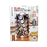Contemporary Spice Rack Stainless Steel 20 Jars Revolving Rack for Easy Access,Spices Included Plus Free 5 Years of...