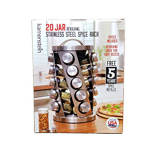 Contemporary Spice Rack Stainless Steel 20 Jars Revolving Rack for Easy AccessSpices Included Plus Free 5 Years of Refills Filled in USA