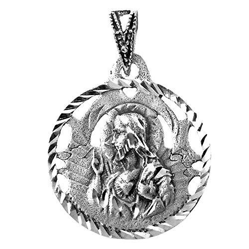 Medalla Plata Ley 925m escapulario 19mm. Virgen Carmen [AB9291]