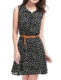 Allegra K Women's Daisy Print Point Collar Sleeveless Belted Shirt Dress Black L