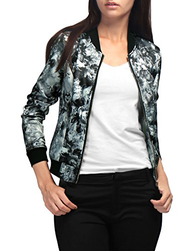 Allegra K Women's Long Sleeves Stand Collar Zip Up Floral Bomber Jacket Grey L