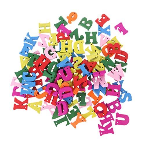 suoryisrty Lettre en Bois, Alphabet Scrabble, Alphabet Mot Carft DIY Décoration Bouton Kid Education Toy, 100 pièces, Multicolore