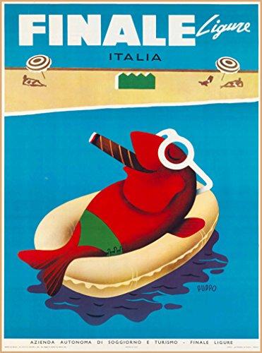 A SLICE IN TIME Finale Ligure Liguria Genoa Italia Italy Italian Riviera Vintage Travel Advertisement Art Poster Print. Poster Measures 10 x 13.5 inches