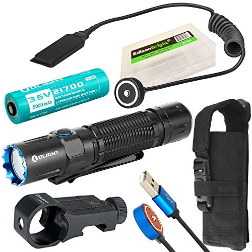 OLIGHT M2R Pro Warrior 1800 Lumens USB Rechargeable Tactical Flashlight, 21700 Battery, holster, pressure switch, rail mount kit with EdisonBright...