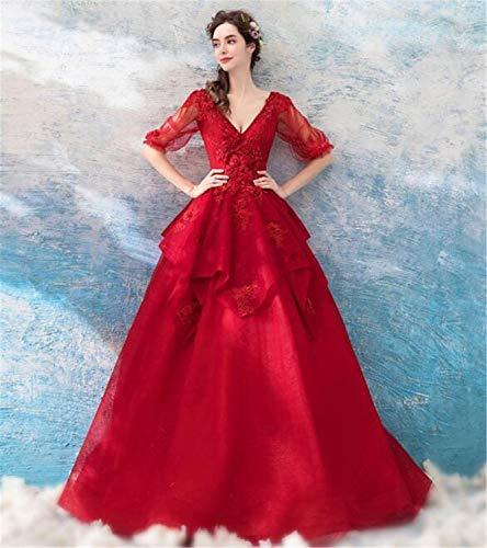 LYJFSZ-7 Hochzeitskleid,Tiefes V Sexy Zurück EIN Wort Brautkleid Bodenlangen Edles Rot No.07409