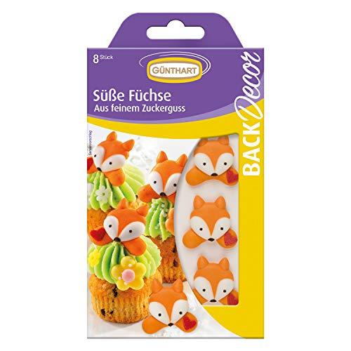 BackDecor 8 süße Füchse aus Zucker   Tortendeko für Kindergeburtstag   Cupcakedeko   Herbst