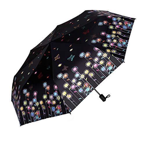 Paraguas JCOCO Patrón de la Danza de la Mariposa de la Manera Sol Tres Que doblan la Crema Solar Femenina Creativa UV (Color : B)