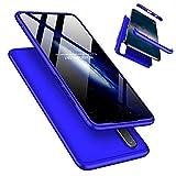 Laixin 3 in 1 Handyhülle für Huawei P30 Lite/Nova 4e Hülle + Panzerglas, Ultra Dünn PC Plastik Anti-Kratzen 360 Grad Schutzhülle Schutz Hülle Cover mit Bildschirmschutzfolie, Blau