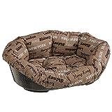 Ferplast Sofa 8 Couchage avec Coussin en Tissu, Fond Perforé, Anti-Dérapant, Appui-Tête Pratique pour Chiens et Chats, Panier pour Animaux, 85 x 62 x 28,5 cm Marron