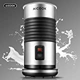 AICOOK Espumador de Leche, 3 en 1 Vaporizador de Leche Eléctrico, Recubrimiento Antiadherente, Automático para Espuma Rica para Café, Latte, Cappuccino, 200ml