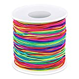 Elastic String for Bracelets, Selizo Bracelet Bead String Elastic Cord for Bracelets, Necklace, Beading, Jewelry Making and Braided Hair Styling (1.2 MM, 109 Yards, Rainbow Color)