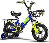 Bicicletta per Bambini di Biciclette per Bambini Pieghevole 12 14 16 18 20 Pollici Bicicletta Ragazze, Alto tenore di Carbonio Telaio Bicicletta Bambino 2-15 Anni di età Ragazzo,Blu,20in