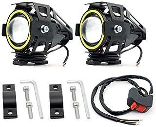 Biqing Reflektory motocyklowe LED reflektory przeciwmgielne z białym pierścieniem aniołka oko U7 CREE światło drogowe stro...