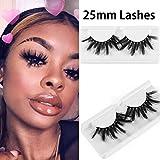 1 Pair 25mm Lashes 3D Mink Hair False Eyelashes Wispy Long Fluffy Wispies Eyelashes Extension Soft Mink Hair Lashes Handmade