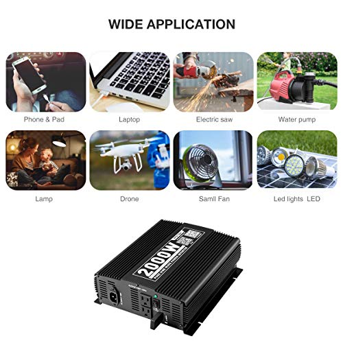 POTEK 2000W Pure Sine Wave Inverter with Automatic Transfer Switch 12V DC to 120V AC and Bluetooth