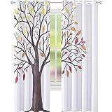 YUAZHOQI Cortina opaca para ventana con estructura moderna de hojas y branc, cortinas personalizadas, 132 x 213 cm
