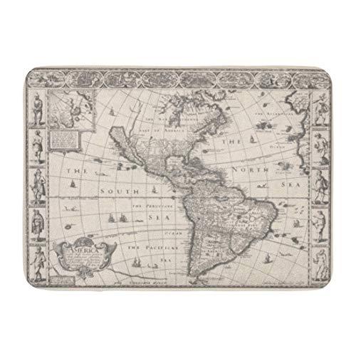 AoLismini Fußmatten Bad Teppiche Outdoor/Indoor Türmatte Vintage 1626 Antike Karte von Nord- und Südamerika Old Mexico USA Badezimmer Dekor Teppich Badematte