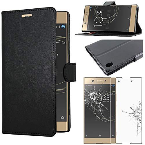 ebestStar - kompatibel mit Sony Xperia XA1 Ultra Hülle XA1 Ultra/Dual (2017) Wallet Hülle Handyhülle [PU Leder], Kartenfächern Standfunktion, Schwarz +Panzerglas Schutzfolie [Phone: 165x79x8.1mm 6.0