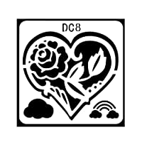 jokeWEN 1/12個バレンタインデーステンシルラブハート DIY 描画テンプレート ステンシルシート スクラップブッキング テンプレート 子供 学校 アルバム 絵図 手帳用に 塗り絵 絵描き道具