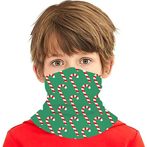 CHEKNAO Multifunctional Neck Gaiter Candy Cane Green Print Bandanas for Kids Men, Face Scarf Headwear for Outdoor Cycling Moturcycle