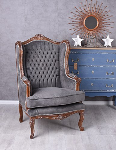 Barockstuhl Ohrensessel Königlicher Thron Samt grau Barock cat560g19 Palazzo Exklusiv