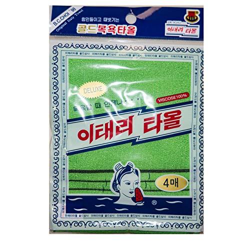 Korean Exfoliating Bath Washcloth [4 pcs] (Green) by TeChef Home by Korean Italy Towel