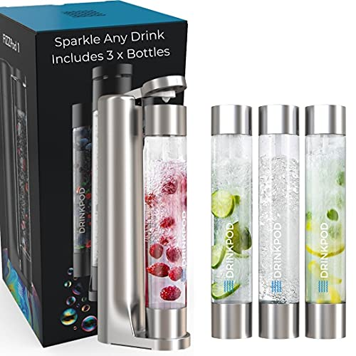 FIZZpod Soda Maker - Fizzy Drink Machine with 3 PET Bottles, 3 Caps, 1 Carbonator Cap and Manual - Make Homemade Sparkle Water, Juice, Coffee, Tea and Cocktail Drinks with Fruit (Silver)