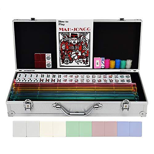 He-art Amerikanisches Mahjong Set Mit 166 Fliesen Legierung Fall 2-in-1-Racks Drücker Lateinische Alphabet-Fliesen der arabischen Ziffern Windan Zeiger Chip Münzwürfel und Überraschung sanhänger,Weiß