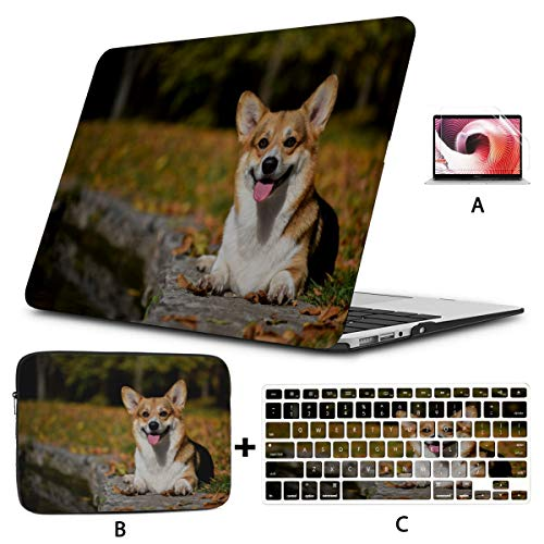 Macbook Air Computer Case Cute And Lovely Small Corgi Puppy Macbook Pro Cover Hard Shell Mac Air 11'/13' Pro 13'/15'/16' With Notebook Sleeve Bag For Macbook 2008-2020 Version