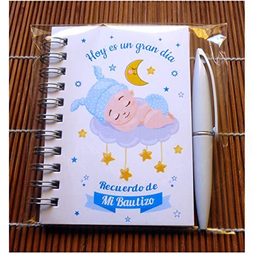 Recuerdos, Detalles y Regalos Originales Para Invitados Bautizo Niño - Baby Shower - Libretas Bautizos con Mini Bolígrafo - Pack 30 Unidades - ¡Todo un Acierto! Gustará a Todos