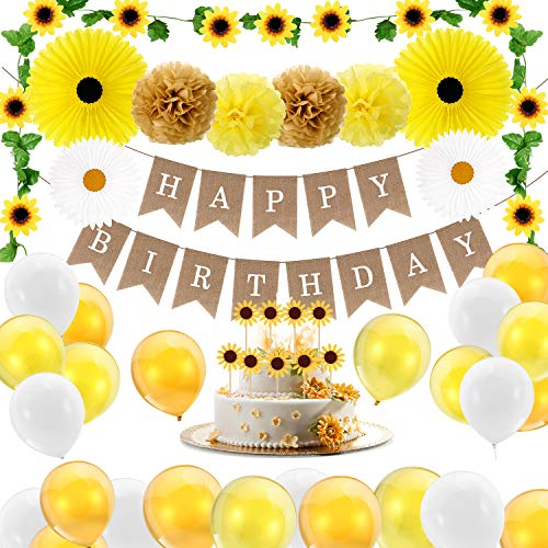 34 Pieces Sunflower Birthday Party Decorations Set Include 1 Sunflower Happy Birthday Banner, 1 Artificial Sunflower Garland, 9 Sunflower Cupcake Toppers, 4 Tissue Paper Fans, 4 Pom Poms, 15 Balloons