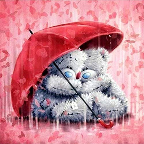 """5D Diamond Painting Kits for Adults Kids, Puppet Bear Love Rain Warm Red Uumbrella Full Drill Paint with Diamonds, Wall Painting for Living Room Diamond Cross Stitch Arts for Home Decor 11.8x11.8"""""""