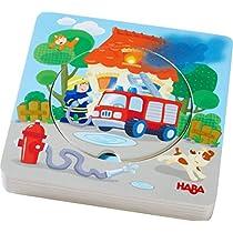 HABA-303252-Puzzle-de-Madera-con-diseno-de-Bomberos-en-5-Capas-Juguete-de-Madera-a-Partir-de-12-Meses-6-Piezas-estables-de-Madera-con-Motivos-de-Bomberos-de-Colores