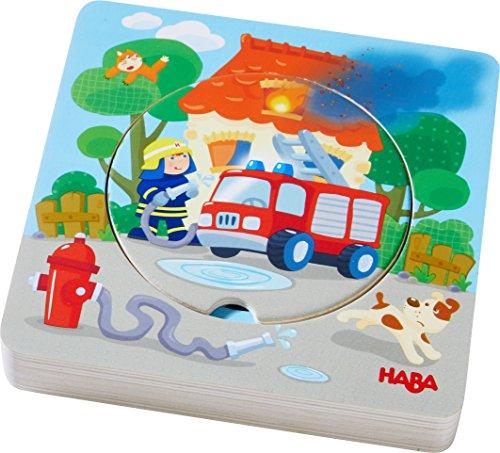 HABA 303252 - Holzpuzzle Feuerwehr-Einsatz | Puzzlespaß in 5 Schichten | Holzspielzeug ab 12 Monaten | 6 Stabile Holzteile mit bunten Feuerwehrmotiven