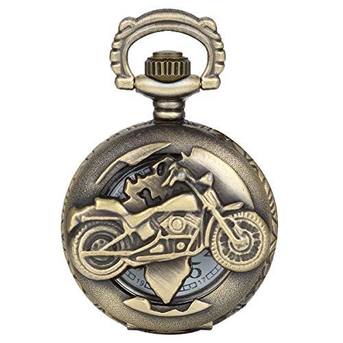 Reloj de Bolsillo Vintage Retro Moto Grabado Motocicleta para Hombre,
