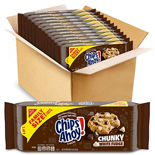 Chips Ahoy! Crunchy White Fudge Chunk Cookies In Family Size/18 Oz Packs, Chocolate Chip, 12 Count