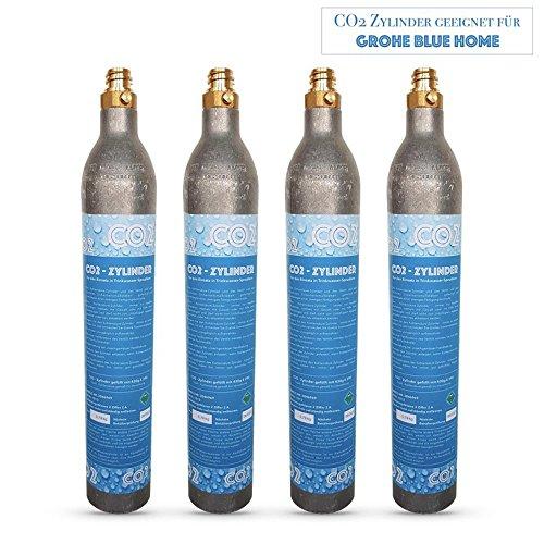 Neues Wasser Group 4x CO2Cilindro CO2Botella Adecuado para Sistema de Agua Potable Grohe Blue Home CO2Relleno.