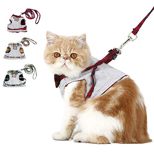 Escape Proof Cat Harness with Leash,Adjustable Cat Walking Jackets, Padded Cat Vest for Kitten Puppy Rabbit Best for Walking and Running,Red,XS