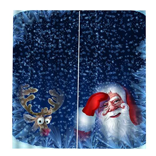 LIOOBO baño Ducha Cortina Set Navidad Santa Claus elk Cortinas Black-out Cortina Navidad Estampado Cortinas de baño con Ganchos Accesorios de baño
