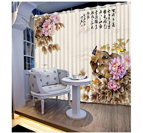 Aymsm 3D Curtains Flowers branches Home Decoration Bedding room 3D Curtains Fashion Window Curtain